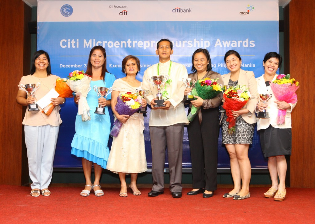 2013 winners of the Citi Microentrepreneurship Awards are all smiles here – after being informed they will receive generous cash prizes, scholarship to entrepreneurship training, life and health microinsurance coverage and a laptop – all to further boost their businesses.