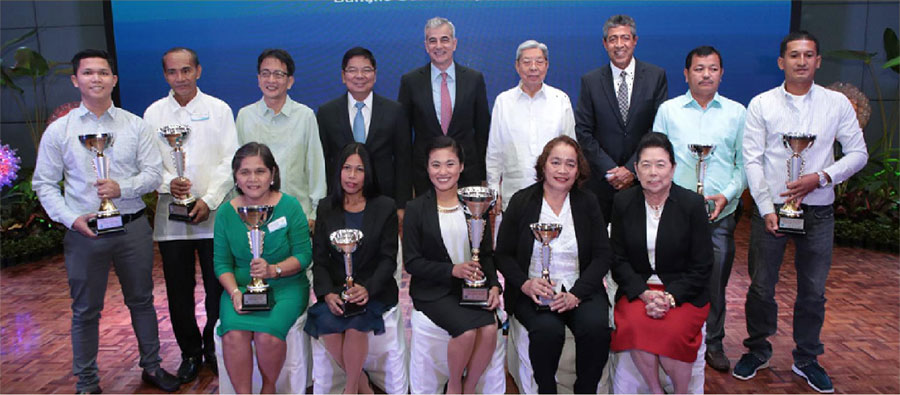 In photo are all the 8 winners together with the illustrious panel of judges that chose them. Navor is flanked by: (seated l-r) Angelita Dagoc, regional awardee for Visayas; Richel Vargas, regional awardee for Luzon; Marcelina Occeña, regional awardee for Mindanao; and Philippine Daily Inquirer Chair Marixi Rufino-Prieto. Next to Pacatang are: (standing l-r) Manuel Iwayan, Green/Sustainable Business awardee; University of the Philippines Diliman Chancellor Dr. Michael L. Tan; BSP Governor Amando M. Tetangco, Jr.; Ayala Corporation President Fernando Zobel de Ayala; Philippine Airlines Director Antonino L. Alindogan Jr.; Citi Philippines CEO Aftab Ahmed; Wilberto Dagame, Community Leadership Awardee; and Renato Mercado, Agri Micro-business awardee.